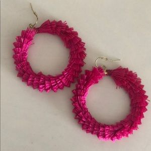 Pink fuzzy earrings